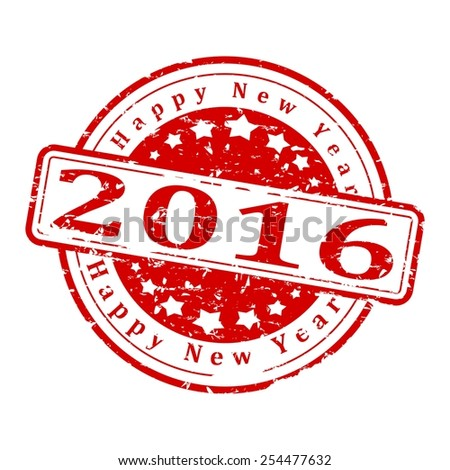 amaged round red stamp with the words - Happy New Year 2016 - vector