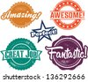 Amazing and Awesome Recognition Stamps for Homework and Tests - stock photo