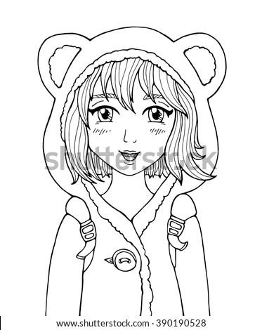 Amazing Anime Girl Manga Style Poster School Dressed In Hood With Animal Ears