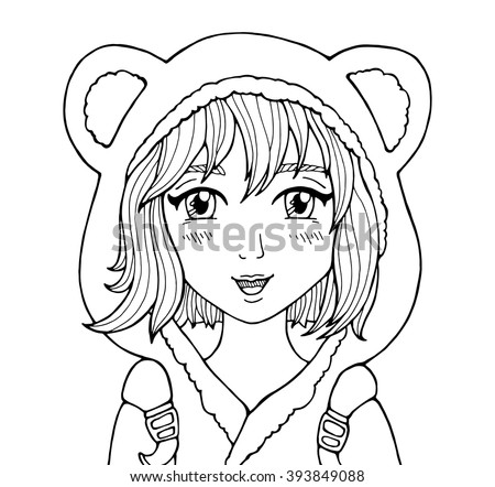 Amazing Anime Girl Manga Style Poster School Dressed In Hood With Animal Ears