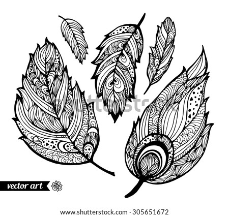 Amazing feathers with dots, spiral, triangle. Vector. Set collection. Creative bohemia concept for bridal, wedding invitations, cards, tickets, congratulations, branding, logo label, emblem - stock vector