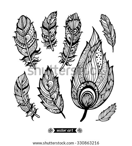 Amazing feathers with dots, spiral, triangle. Vector. Set collection. Creative bohemia concept for bridal, wedding invitation, card, ticket, branding, logo label, emblem. Coloring book page for adult