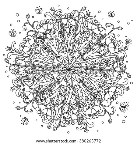 Amazing flowers and butterflies and garden plants, Vector hand drawn.  Art mandala concept, could be use for adult coloring book or  invitation, card, ticket,  in zentart style. - stock vector