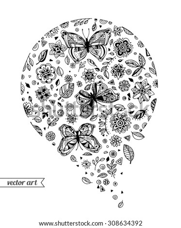 Amazing fly butterflies insect, flowers, plant, dots, spiral, triangle. Vector. Set collection. Creative bohemia concept for wedding invitations, cards, tickets, congratulations, branding, logo label