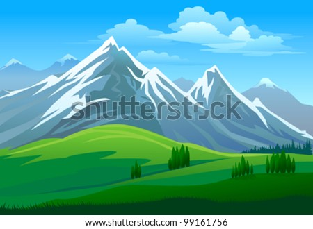 AMAZING GLACIERS ON MOUNTAIN AND GREEN VALLEY - stock vector