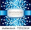 Amazing  invitation on blue glittering background - stock vector