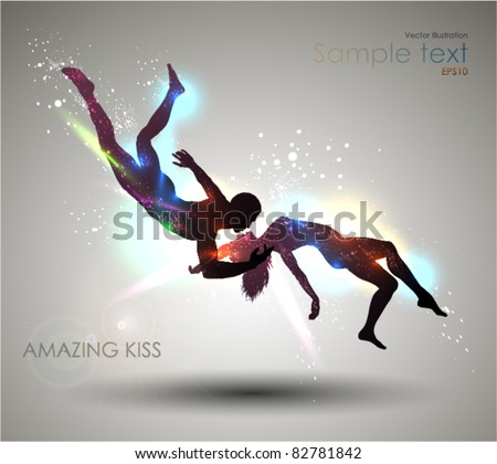 Amazing Kiss. Vector Illustration. EPS 10. - stock vector