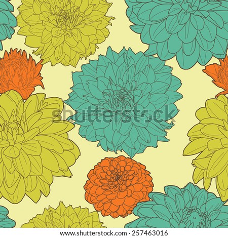 Amazing seamless floral vintage japanese spring asters pattern - stock vector
