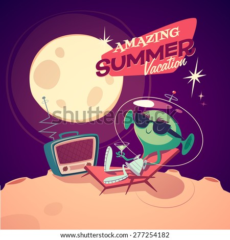 Amazing summer vacation. Retro styled card / poster / background. Vector illustration. - stock vector