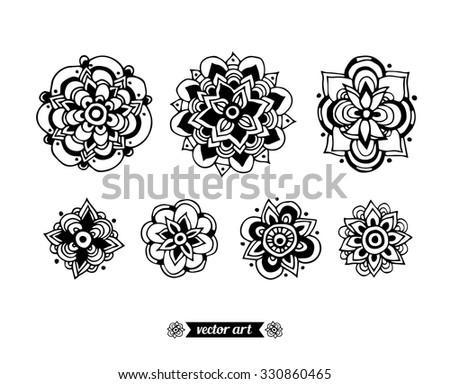 Amazing Wonderland Flower Mandala Symbols Vector Stock Vector