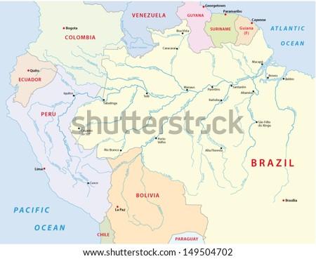 amazonas river map - stock vector