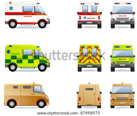 Ambulance and cash van.