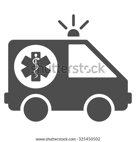 Ambulance Car vector icon. Style is flat symbol, gray color, rounded angles, white background.