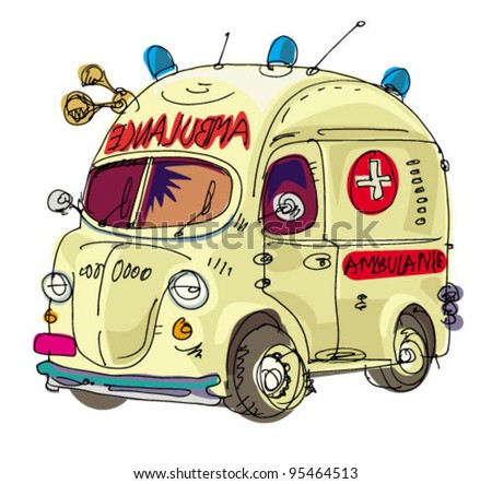 ambulance - cartoon - stock vector