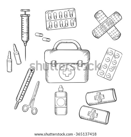 First Aid Kit Coloring Pages Free