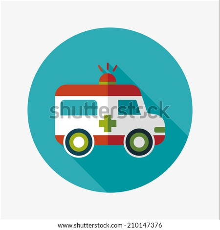 ambulance flat icon with long shadow - stock vector