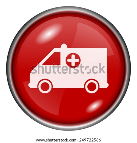 Ambulance icon. Internet button on white background.  - stock vector
