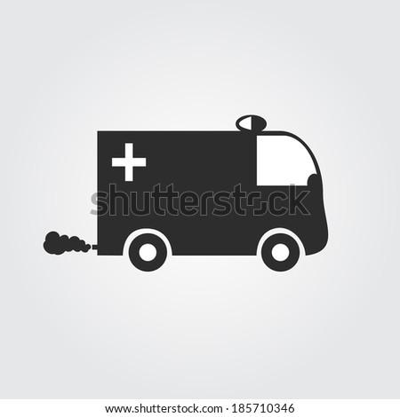 Ambulance van car vector icon - stock vector