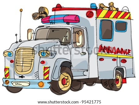 ambulance van - cartoon - stock vector