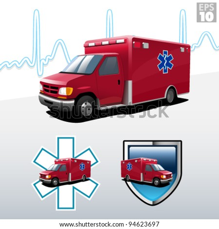 Ambulance with heart beat background, protection and EMT paramedic symbols - stock vector