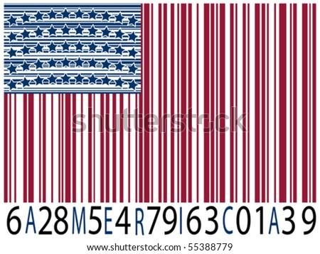 america bar codes flag, abstract vector art illustration - stock vector