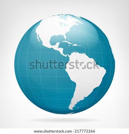 America blue earth view isolated vector illustration