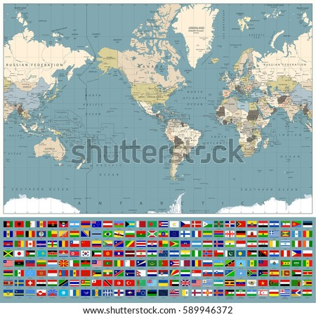 America centered world map all world stock vector 589946372 america centered world map and all world flags retro colors all elements are separated gumiabroncs Image collections