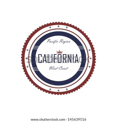 america city label california - stock vector