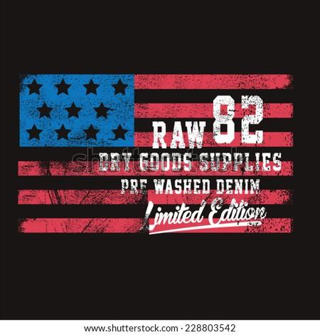 America denim typography, t-shirt graphics, vectors - stock vector