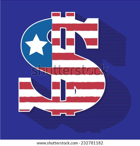 America dollar flag illustration, t-shirt graphics, vectors
