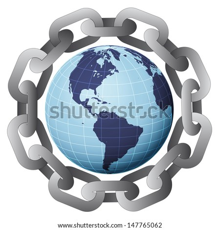 america earth globe in strong steel circle chain vector illustration - stock vector