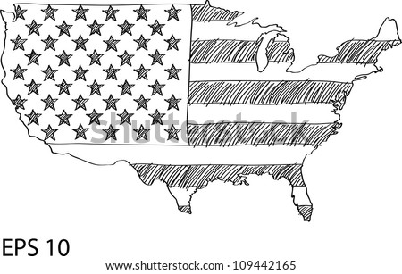 america flag map vector sketch up in usa eps 10