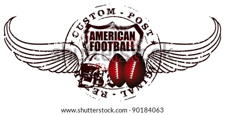 america football post with wings - stock vector