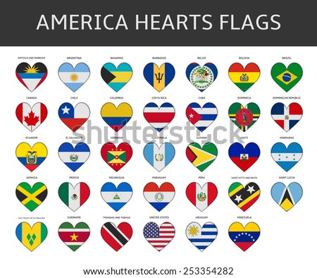 america hearts flags vector