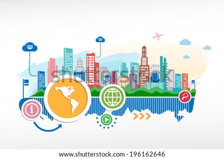 America map and cityscape background with different icon and elements. Design for the print, advertising. - stock vector