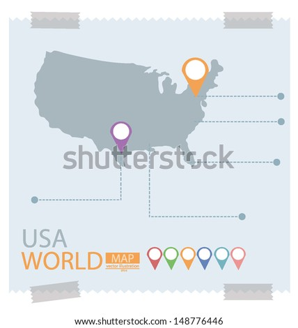 America. Map vector Illustration. - stock vector