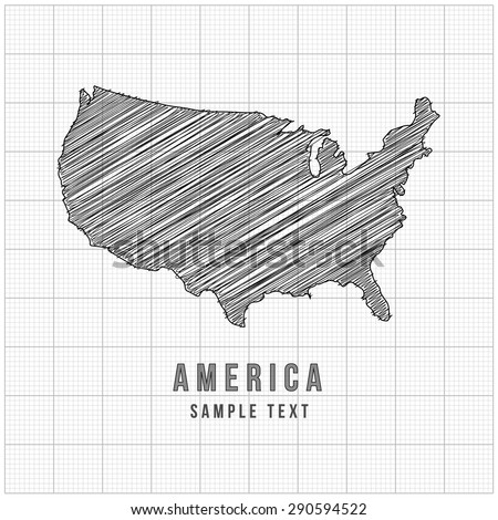 America Map Vector Line Sketch Up with Grid Background - stock vector