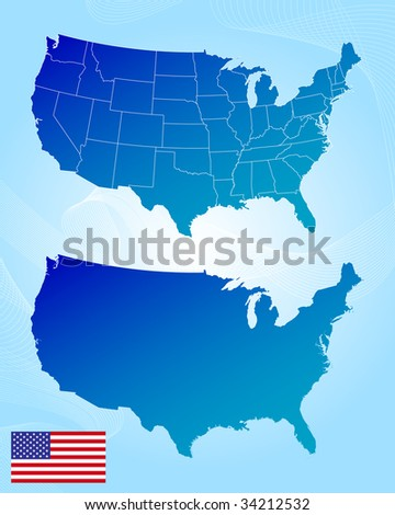 America maps and flag - stock vector