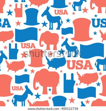 America Seamless Pattern Usa Election Symbols Stock Vector 400522738