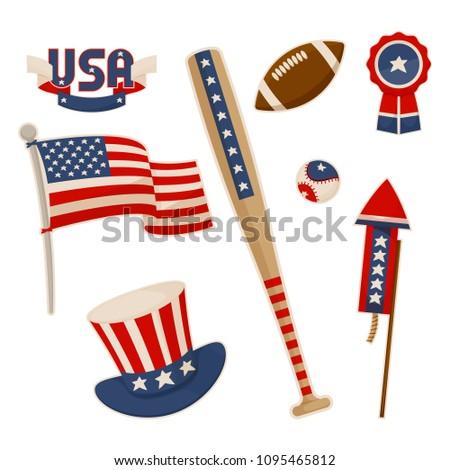 America Symbols Collection Vector Baseball Bat Stock Vector