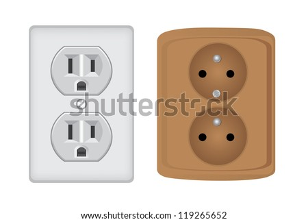 American and european electric socket, isolated - realistic illustration - stock vector