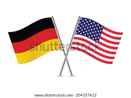 American and German flags. Vector illustration. - stock vector