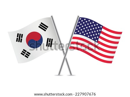 American and South Korean flags. Vector illustration. - stock vector