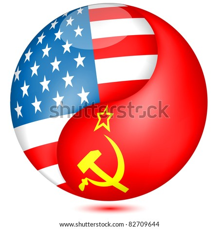 American and Soviet  flag in the Globe.Vector - stock vector