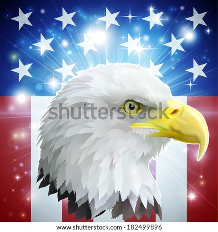 American bald eagle in front of the American flag