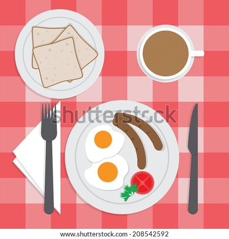 American breakfast set on the table, Fried egg, Sausages, Bread, Coffee, VECTOR, EPS10 - stock vector