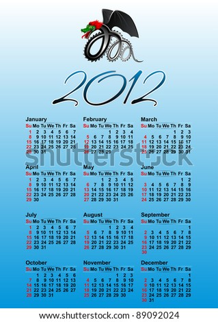 American calendar for 2012 (the year of the black dragon)