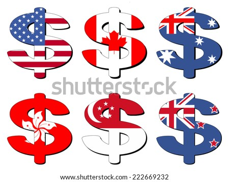 American Canadian Australian Hong Kong Singapore New Zealand dollar symbol vector illustration - stock vector