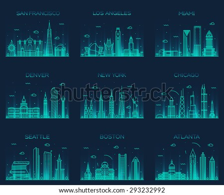 American cities. San Francisco, New York, Chicago, Los Angeles, Miami, Atlanta, Boston, Seattle, Denver skylines, detailed silhouette. Trendy vector illustration, linear style. - stock vector