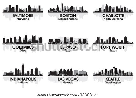 American cities skyline set 2 - stock vector